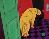 Dog Pop Art, Bathroom Art, Dog in Potty, Funny Pet Art, by dogpopart