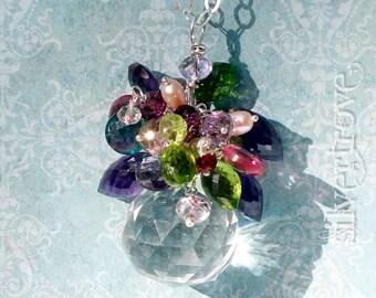 Gemstone Bouquet Necklace Crystal Vase Pendant Gemstone Necklace Sterling Silver Necklace Crystal Necklace Amethyst Peridot Garnet Necklace