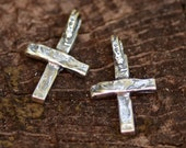 Artisan Cross Charm in Sterling Silver, Small Rustic Crosses