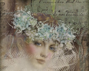 Crown of Beauty Digital Collage Greeting Card (Suitable for Framing)