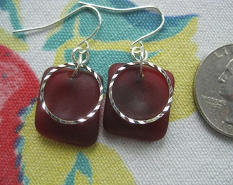 deep red beachglass earrings with silver plated wire,  vintage depression glass earrings, seaglass inspired