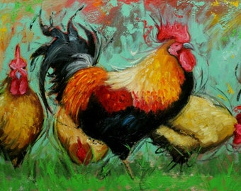 Rooster 759 24x36 inch animal portrait original oil painting by Roz