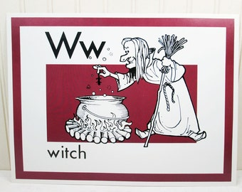 Vintage School Poster Letter W Alphabet Witch Trend Enterprises 1970s