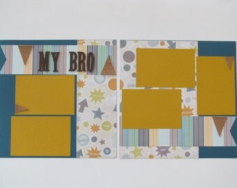 My Bro (Brother) Premade 12x12 Scrapbook Layout, DIY Scrapbook Kit, Scrapbook Page Kit, Project Life