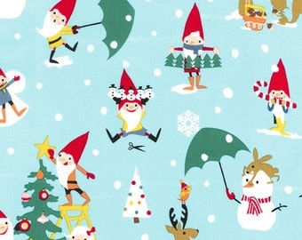Michael Miller Christmas Gnomes in Blue mm5516 Holiday FAT QUARTER FQ