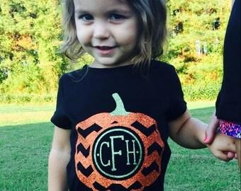 Monogram Pumpkin Shirt, personalized fall shirt, Halloween T-shirt, Glitter Vinyl Now Available in Long Sleeve