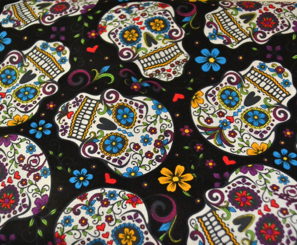 Fabric sugar skulls half yard day of the dead for The fabric of