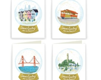San Francisco Snow Globes - Box of 8 Assorted Holiday Cards
