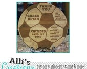Custom Soccer Coaches Gift Cutting Board - Round Bamboo Engraved Cutting Board with Soccer Ball