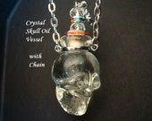 Clear Crystal Skull Oil Perfume Vessel with Chain, Jeweled Embellishments on Cork, Great Silver Bail Around Neck to Hang Nicely From Chain