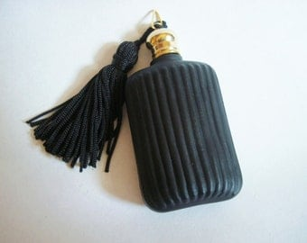 Lovely Perfume Vessel, Beautiful Decandent Dark Glass Bottle, Pendant, Vintage, Can Be Used For A Memeorial Urn