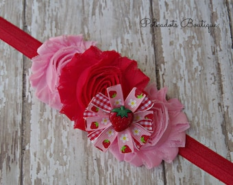 Strawberry Baby Headband, Strawberry Headband, Girls Strawberry Headband Pink and Red Strawberry Headband
