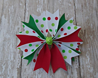 Boutique Pinwheel Spikes Christmas Hair Bow Polkadot Christmas Hairbow Christmas Hair Bow