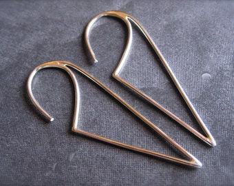 Triangle French Ear Wires - Solid Sterling Silver - high end jewelry earring findings - supplies