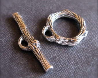Small Solid Sterling Silver Branch Toggle Clasp - 10mm