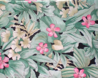Tropical Fabric Jungle Print Fabric Pink White Flower Fabric Floral Fabric Jungle Fabric - Cotton 1/2 Half Yard Quilting Crafting Fabric