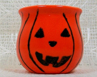 Pumpkin Candle Holder | Votive Candle Holder | Votive Holder | Decorative Candle Accessories | Ceramic Candle Holder | Orange Candle Holder