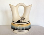 Vintage Navajo Wedding Vase, Signed Hand Painted Pottery, Mirror Image
