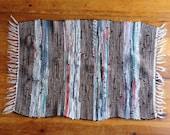 Vintage Rug, Hand made Rag Rug,  Striped Rug, perfect for the Modern Boho look