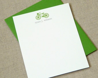Personalized Stationery Set - personalized stationery set - thank you notes - bicycle solo - note cards - stationary set
