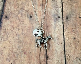 Horse riding initial necklace - horse jewelry, equestrian jewelry, horse riding jewelry, horse jumping necklace, silver equestrian necklace