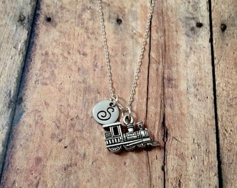 Train engine initial necklace - steam engine necklace, train jewelry, train engine necklace, locomotive necklace, silver train necklace