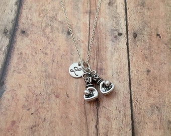 Boxing gloves initial necklace - boxing gloves jewelry, MMA jewelry, kickboxing necklace, gift for boxer, silver boxing necklace