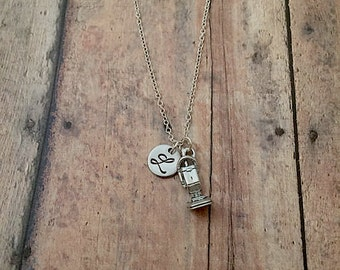 Vacuum cleaner initial necklace - vacuum jewelry, sweeper necklace, housekeeping necklace, silver vacuum cleaner necklace