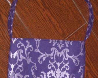purple shimmer damask toddler purse