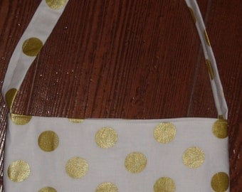 Gold pearlized dot toddler purse
