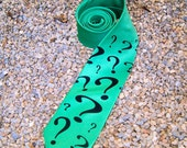 Green / Purple Riddler Question Mark Geeky Cosplay Mens Tie - MTCoffinz - Choose Color