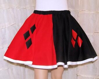 Harley Quinn Black Red Diamonds Long Circle Skirt Adult Small - MTCoffinz - Ready to Ship