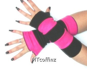 LAST CHANCE CLOSEOUT Neon Pink Black Fleece Arm Warmers Gloves Striped MTCoffinz - Ready to Ship