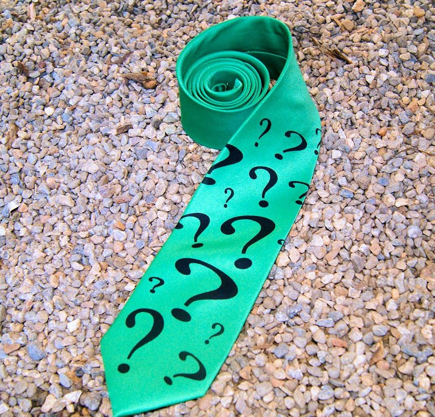 green purple riddler question geeky mens tie