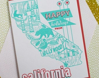 Happy Holidays California Folk Retro Themed Letterpress Card