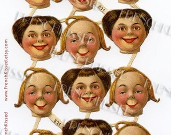 Sheet of Victorian Die Cut Faces Blonde and Brunette Digital Clip Art for Personal Use