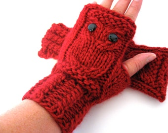 Owl Fingerless Gloves Mittens - Merino Wool Chunky - Red Ruby