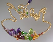 Rainbow Gemstone Petal Necklace, Wire Wrapped Gold Filled Curved Bar, Amethyst, Sapphire, Peridot, Original Design