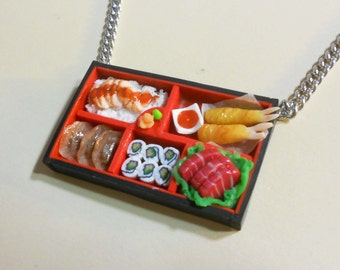 Sushi Bento box Necklace tempura shrimp japanese food bento tuna sashimi teriyaki chicken rice gyoza polymer clay handmade necklace