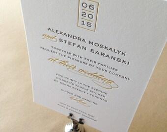Custom Letterpress Wedding Invitations - Sample