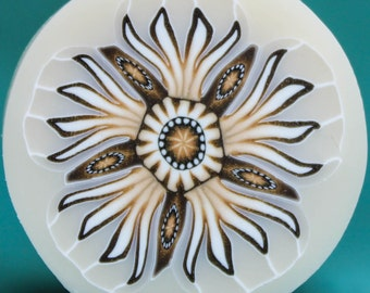 XLARGE Translucent and White Polymer Clay Flower Cane (47C)