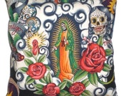 Mexican Art Virgin de Guadalupe Day of the Dead Decorative Throw Pillow Home Decor Bedding
