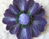 Purple Poppy Felted Flower Brooch, Upcycled Sweater Wool Pin