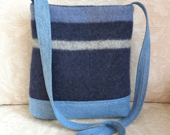 James Shoulder Bag in Navy Sweater Wool and Denim, Eco Friendly Upcycled Purse
