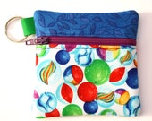 Keyring zipper pouch fits earbuds, essential oils, USB, Square reader case marble fabric pouch