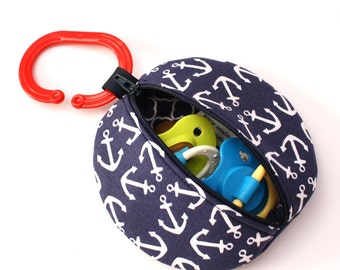 Pacifier Case Navy Anchor Fabric Binky pouch Paci Pod Pacifier Holder