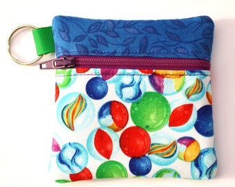 Keyring mini zipper pouch fits earbuds, essential oils, USB, Square reader case marble fabric pouch