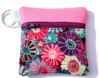 Mini zipper pouch fits earbuds, essential oils, USB, Square reader case floral fabric key ring pouch Key chain