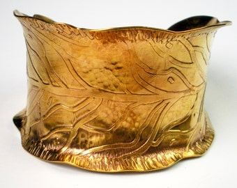 Etched and Hammered Brass Leaf Cuff, Womans Brass Bracelet, Rustic, Forged,Anticlastic, Fall Leaf, Autumn Jewelry- Leaf of Gold