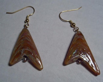 Golden Glass Wedge Earrings